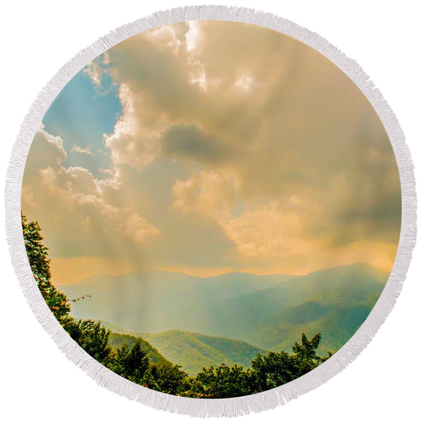 View Round Beach Towel featuring the photograph Blue Ridge Parkway Scenic Mountains Overlook by Alex Grichenko