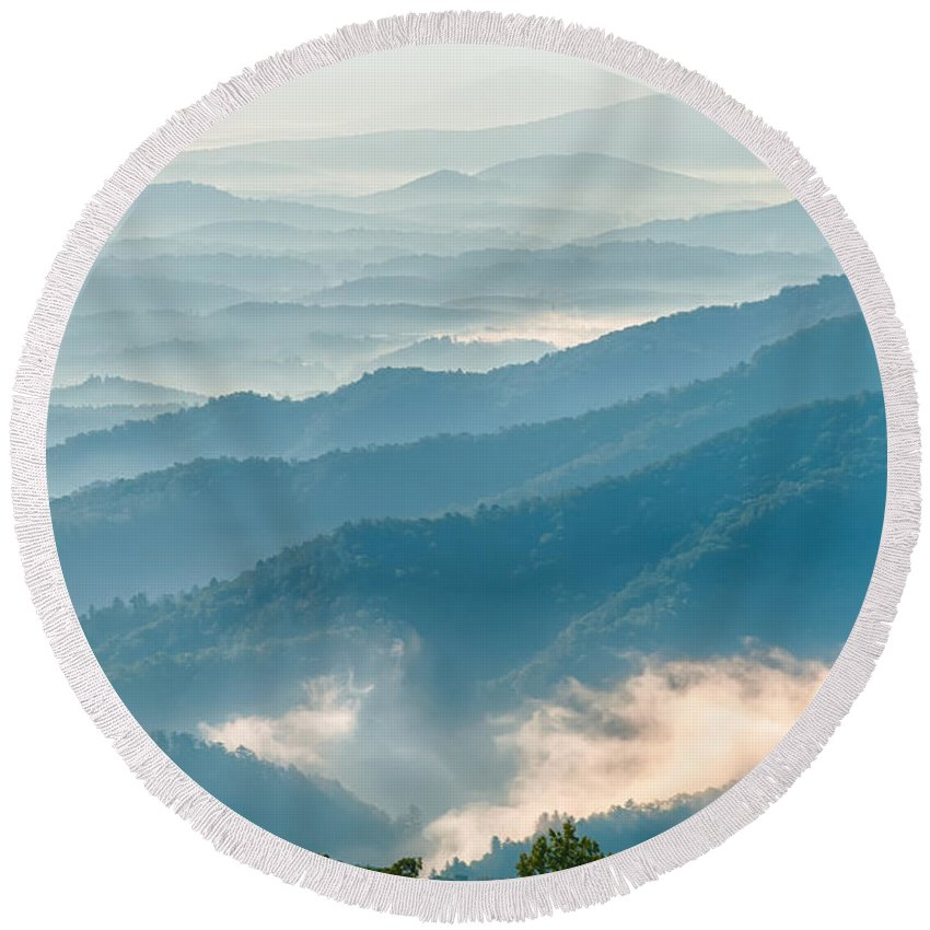 Mountains Round Beach Towel featuring the photograph Blue Ridge Parkway Scenic Mountains Overlook Summer Landscape by Alex Grichenko
