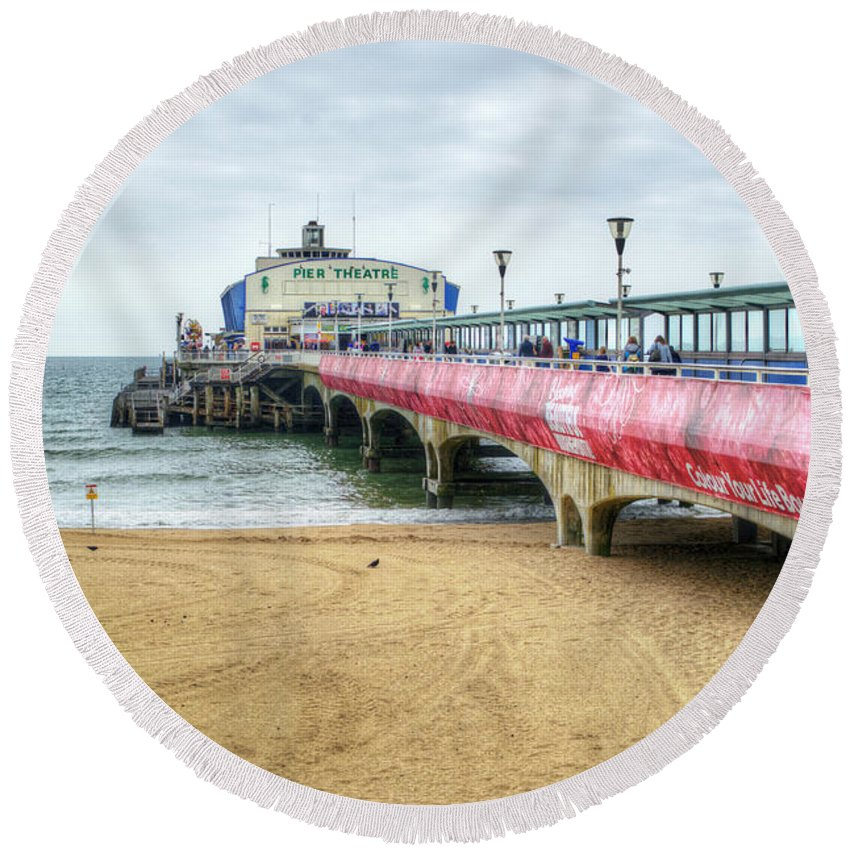 Bournemouth Pier Round Beach Towel featuring the photograph Bournemouth Pier by Chris Day