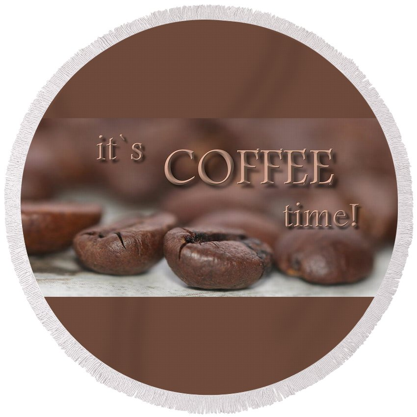 Coffee Round Beach Towel featuring the photograph Coffee by Heike Hultsch
