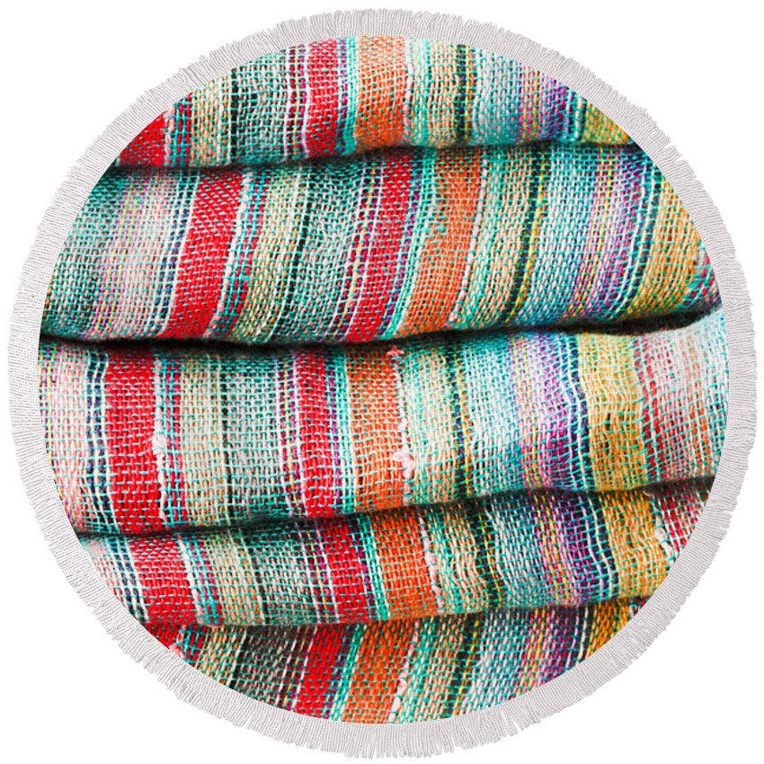 Backdrop Round Beach Towel featuring the photograph Colorful Cloth by Tom Gowanlock