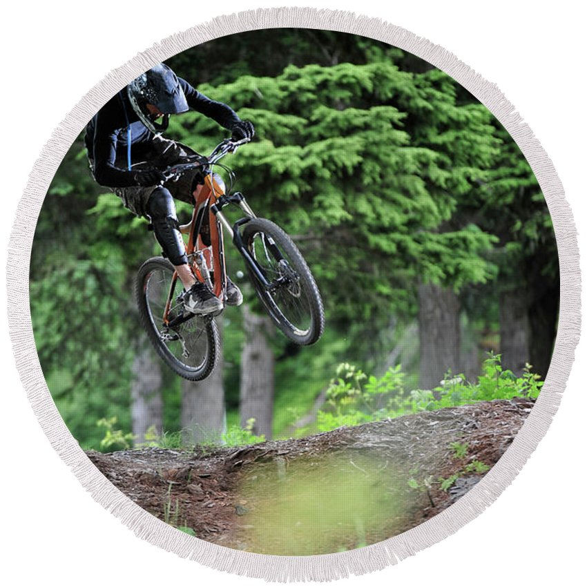 25-29 Years Round Beach Towel featuring the photograph Extreme Biking In Alaska by HagePhoto