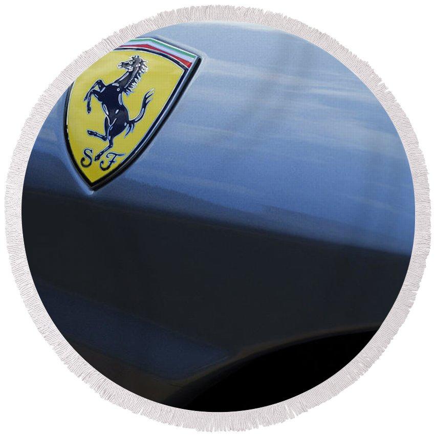 Ferrari Round Beach Towel featuring the photograph Ferrari Emblem by Jill Reger