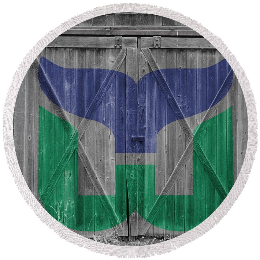 Whalers Round Beach Towel featuring the photograph Hartford Whalers by Joe Hamilton