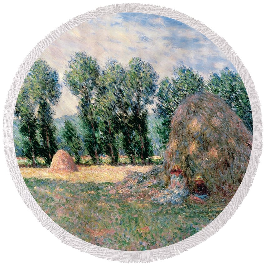 Claude Monet Round Beach Towel featuring the painting Haystacks by Claude Monet