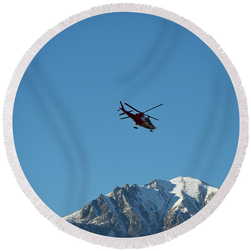Helicopter Round Beach Towel featuring the photograph Helicopter by Mats Silvan