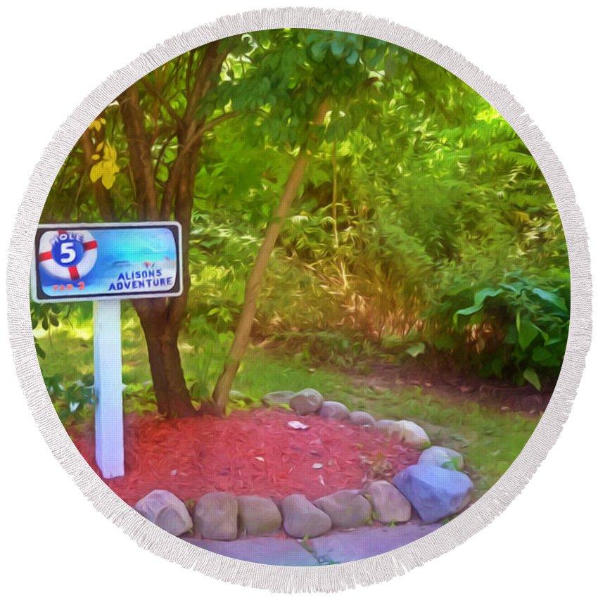 5 Hole Sign On Golf Course Round Beach Towel featuring the painting 5 Hole Sign On Golf Course 2 by Jeelan Clark