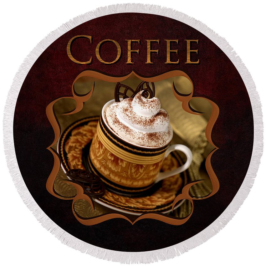 Bowl Round Beach Towel featuring the photograph Cappuchino Coffee Gallery by Iris Richardson