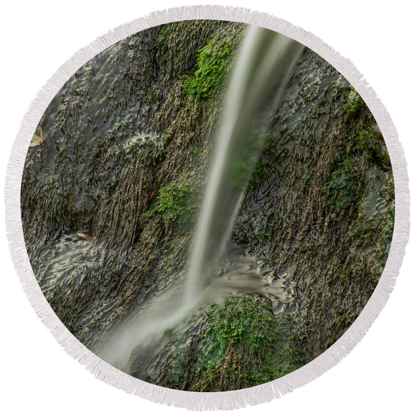 Waterfall Round Beach Towel featuring the photograph 5 Inch Waterfall by Davor Ferderber