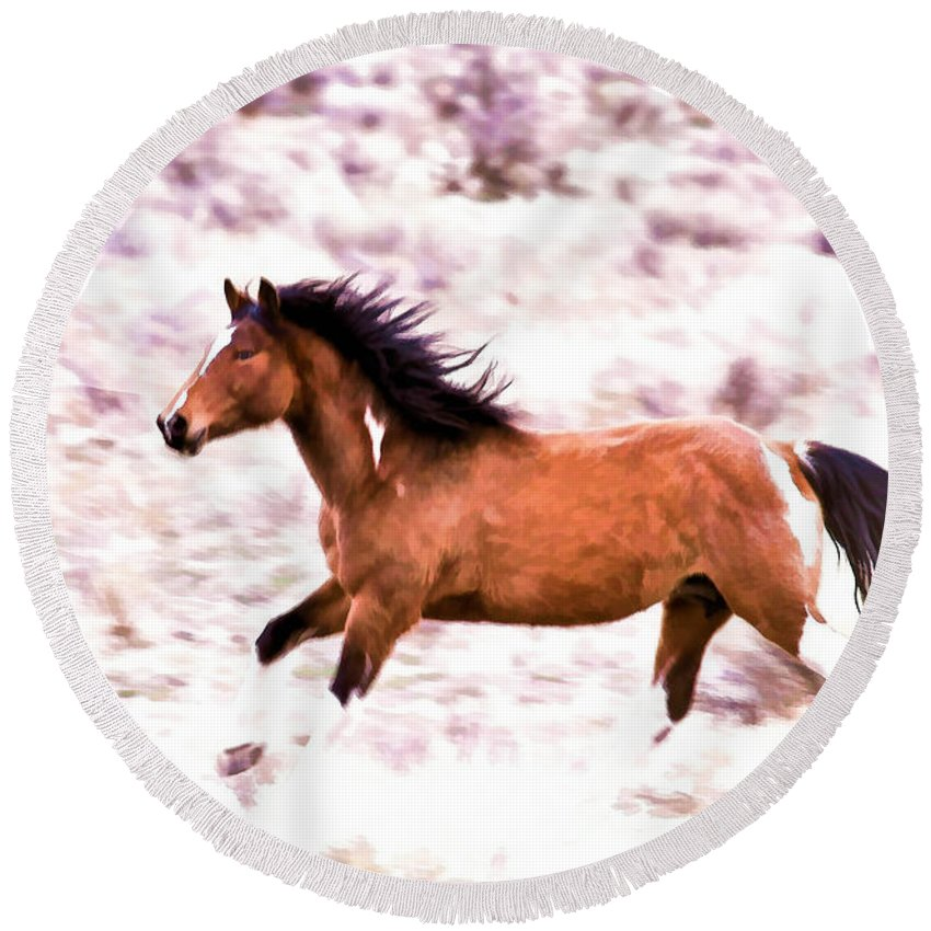 Horses Round Beach Towel featuring the photograph Chasing Freedom by Athena Mckinzie