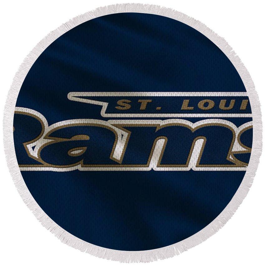 Rams Round Beach Towel featuring the photograph St Louis Rams Uniform by Joe Hamilton
