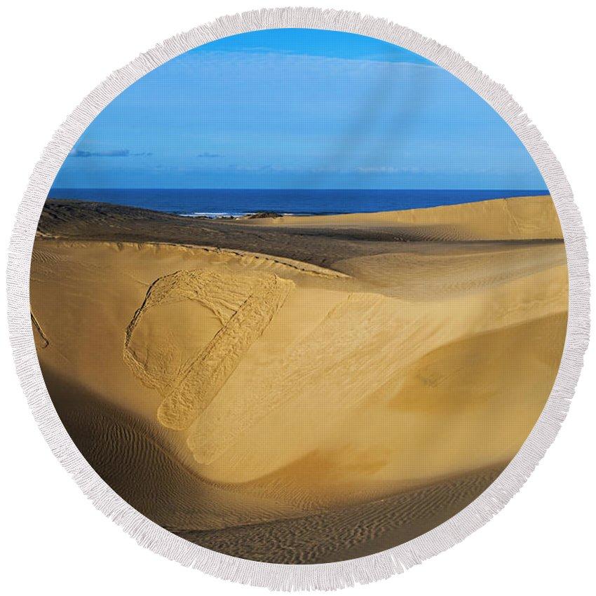 Sunrise At Oceano Sand Dunes Round Beach Towel featuring the photograph Sunrise At Oceano Sand Dunes by Yefim Bam