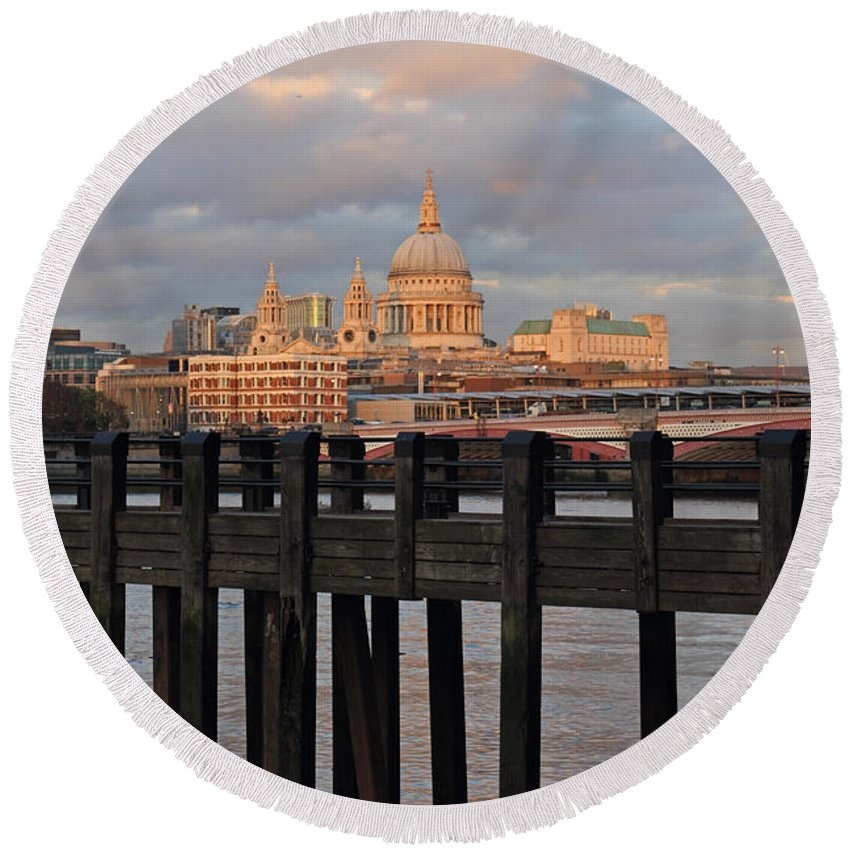 Sunset Over St Pauls Cathedral London Round Beach Towel featuring the photograph Sunset Over St Pauls Cathedral London by Julia Gavin