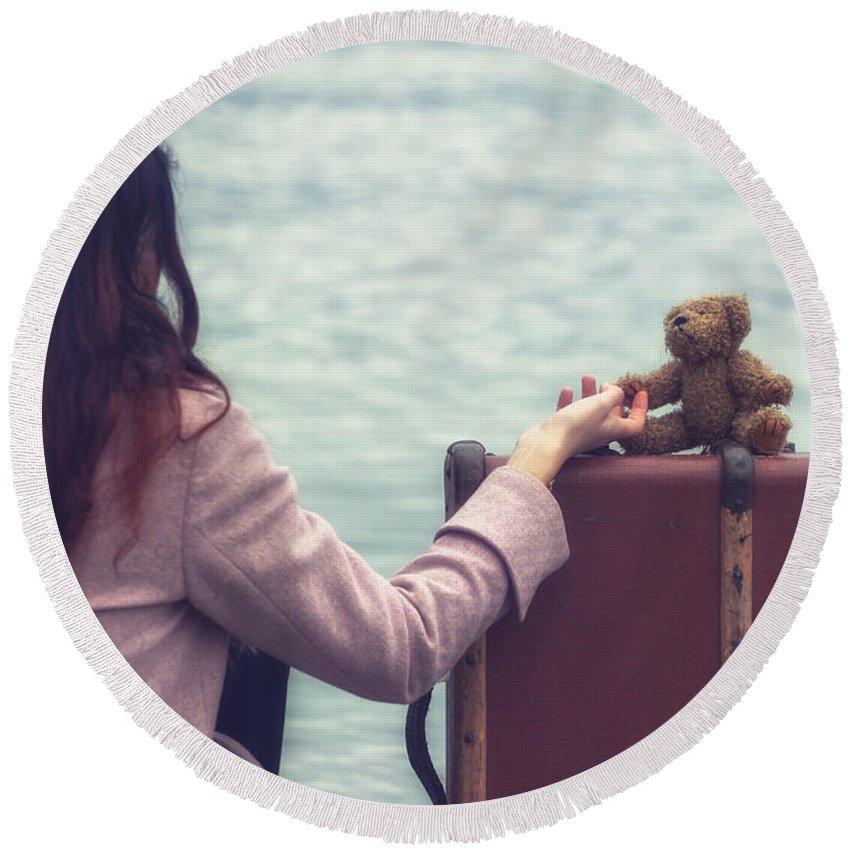 Woman Round Beach Towel featuring the photograph Teddy Bear by Joana Kruse