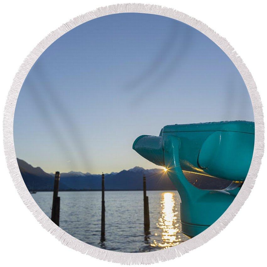Telescope Round Beach Towel featuring the photograph Telescope by Mats Silvan