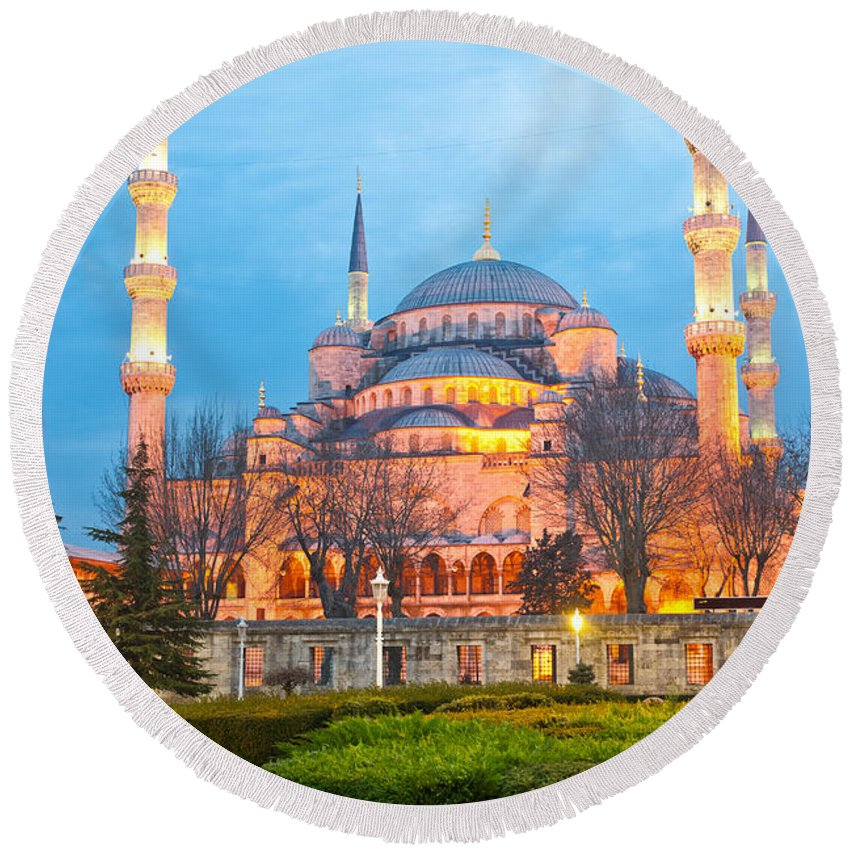 Arabic Round Beach Towel featuring the photograph The Blue Mosque - Istanbul by Luciano Mortula