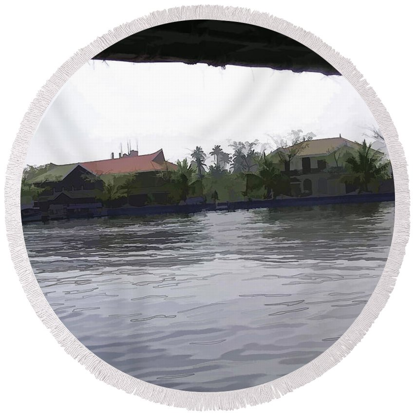 Alleppey Round Beach Towel featuring the digital art View Of Lake Resort Framed From The Top Of A Houseboat by Ashish Agarwal