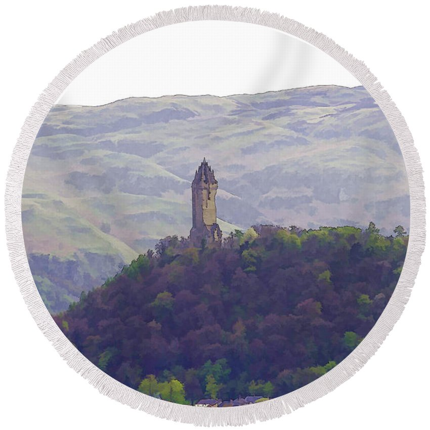 Action Round Beach Towel featuring the photograph View Of Wallace Monument From The Heights Of The Stirling Castle by Ashish Agarwal
