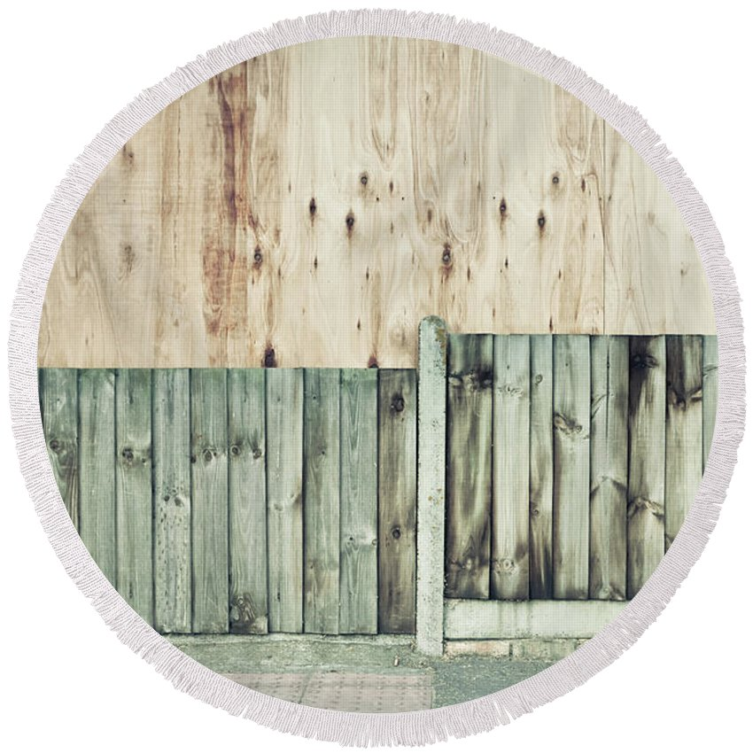 Background Round Beach Towel featuring the photograph Wooden Background by Tom Gowanlock