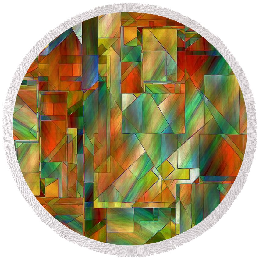 Abstract Round Beach Towel featuring the painting 53 Doors by RC DeWinter