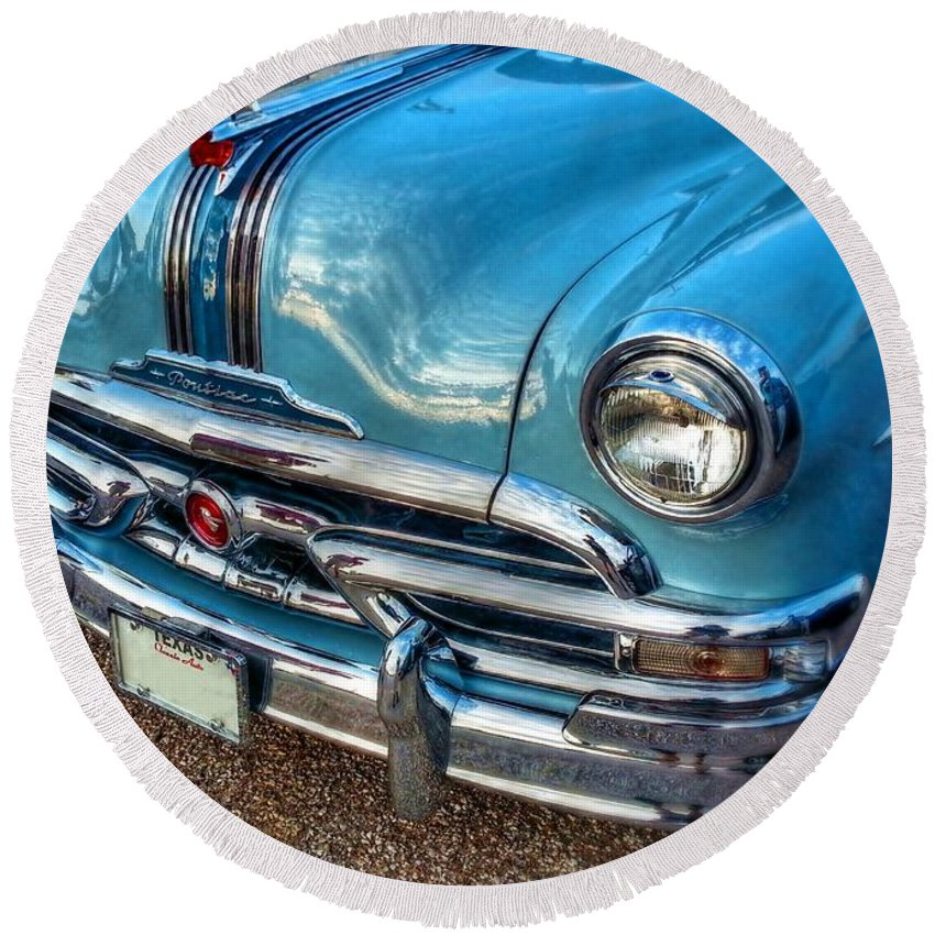 Catalina Round Beach Towel featuring the digital art 53 Pontiac Catalina by Linda Unger