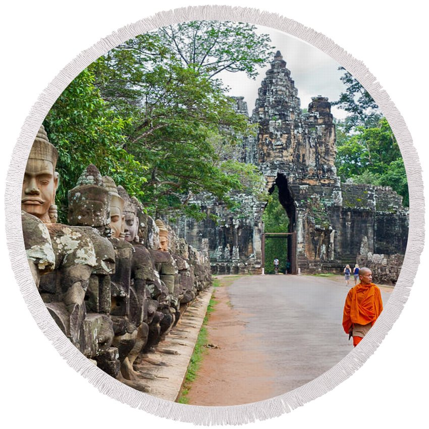Cambodia Round Beach Towel featuring the photograph 54 Gods And A Monk by David Freuthal
