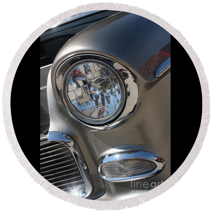 1955 Chevrolet Bel Air Round Beach Towel featuring the photograph 55 Bel Air Headlight-8200 by Gary Gingrich Galleries