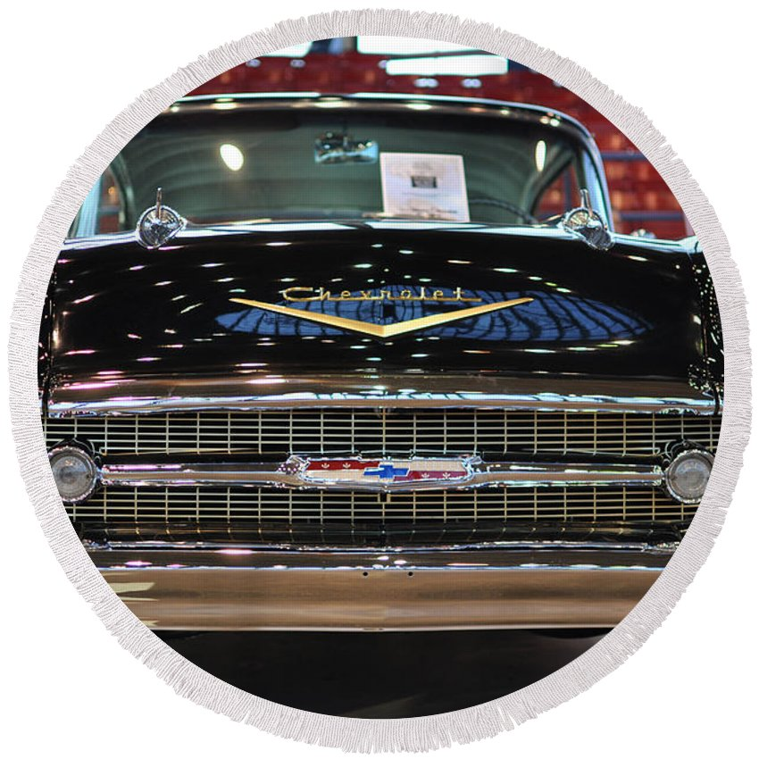 Wright Round Beach Towel featuring the photograph '57 Chevy Bel Air Show Car by Paulette B Wright
