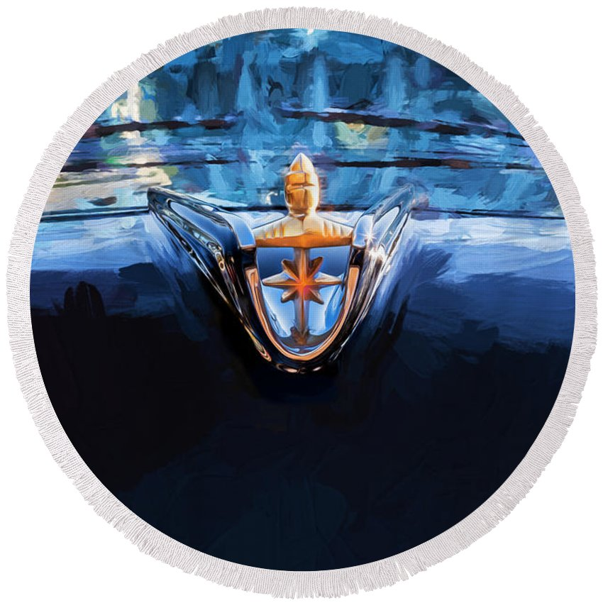 Lincoln Round Beach Towel featuring the photograph 1956 Lincoln Premiere Convertible Painted by Rich Franco