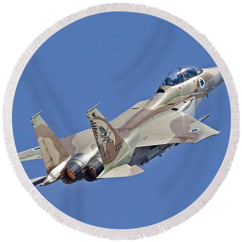 Transportation Round Beach Towel featuring the photograph An F-15i Raam Of The Israeli Air Force by Ofer Zidon