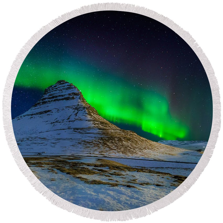 Photography Round Beach Towel featuring the photograph Aurora Borealis Or Northern Lights by Panoramic Images