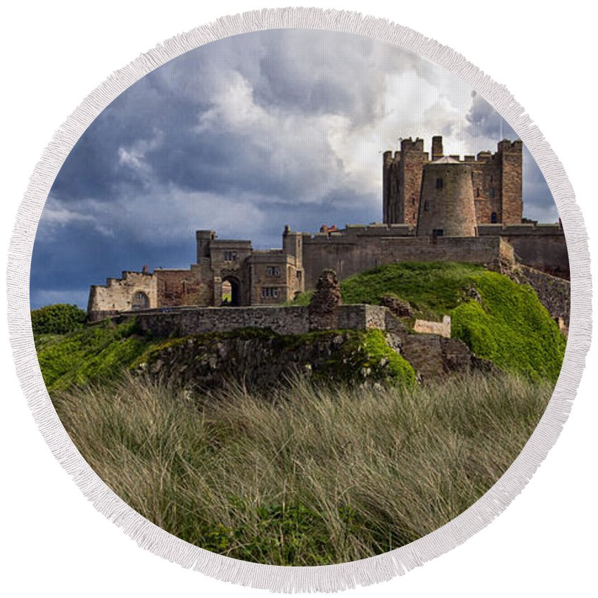 Bamburgh Round Beach Towel featuring the photograph Bamburgh Castle by David Pringle