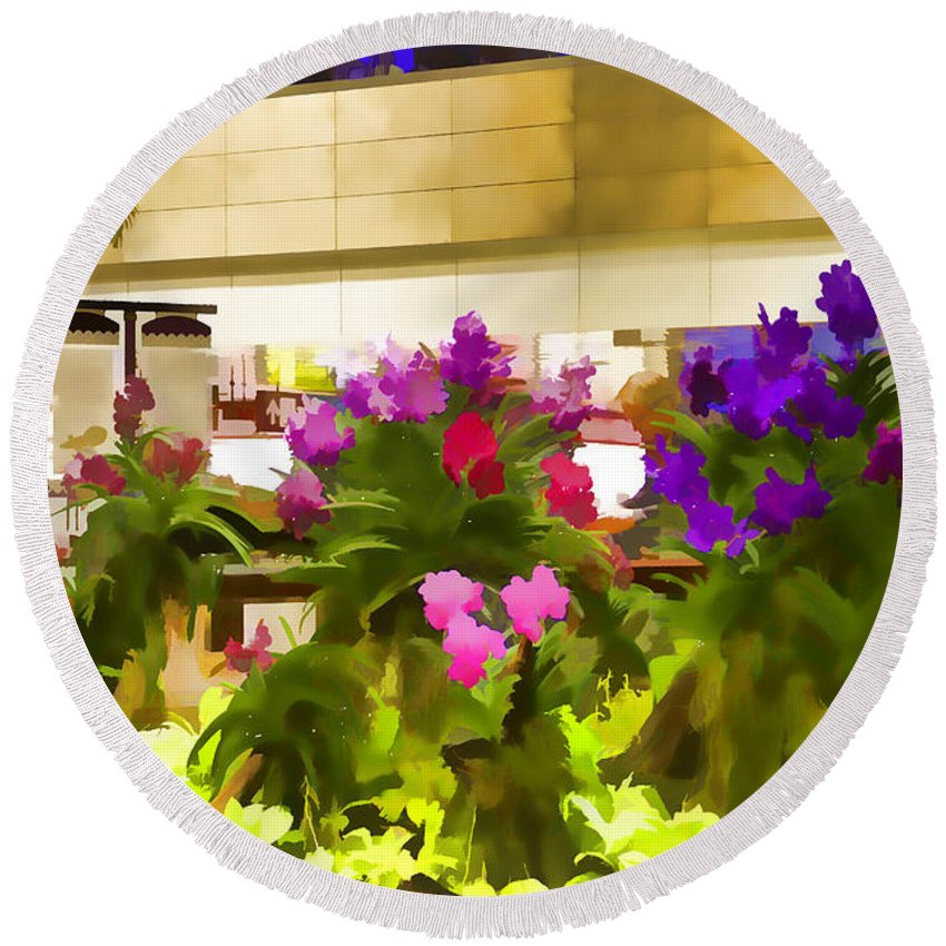 Airport Round Beach Towel featuring the photograph Beautiful Flowers Inside The Changi Airport In Singapore by Ashish Agarwal
