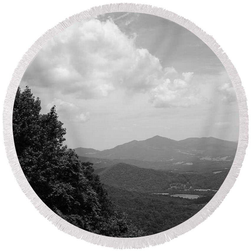 America Round Beach Towel featuring the photograph Blue Ridge Mountains - Virginia Bw 3 by Frank Romeo