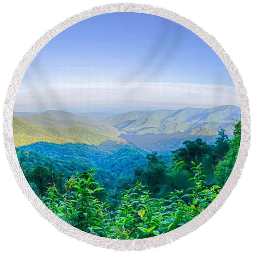 Mountains Round Beach Towel featuring the photograph Blue Ridge Parkway National Park Sunset Scenic Mountains Summer by Alex Grichenko