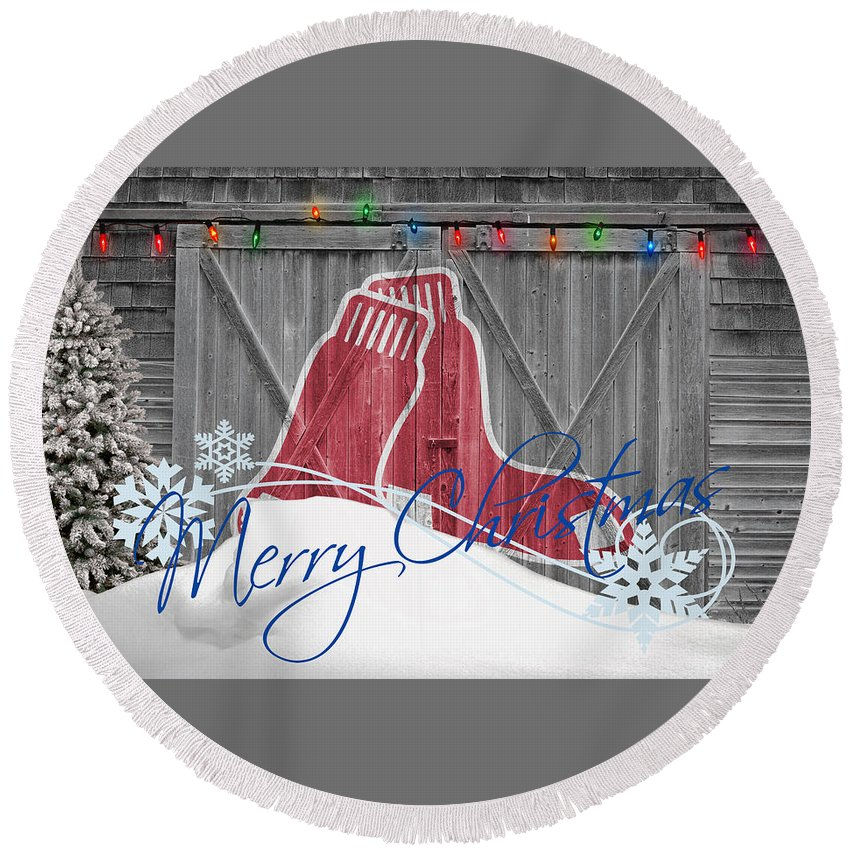 Red Sox Round Beach Towel featuring the photograph Boston Red Sox by Joe Hamilton