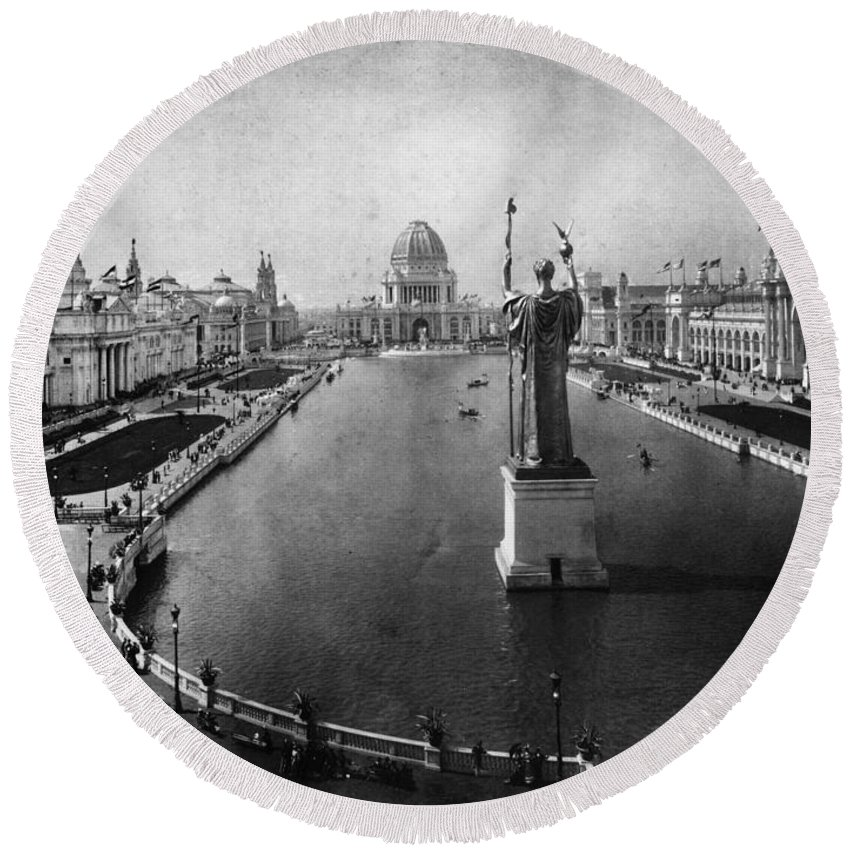 1893 Round Beach Towel featuring the photograph Columbian Exposition, 1893 by Granger