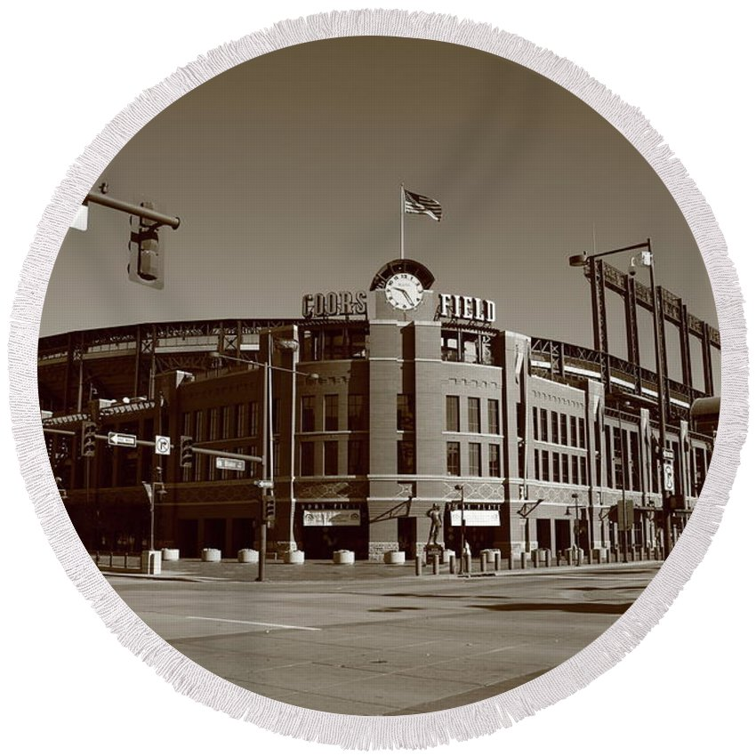 America Round Beach Towel featuring the photograph Coors Field - Colorado Rockies by Frank Romeo