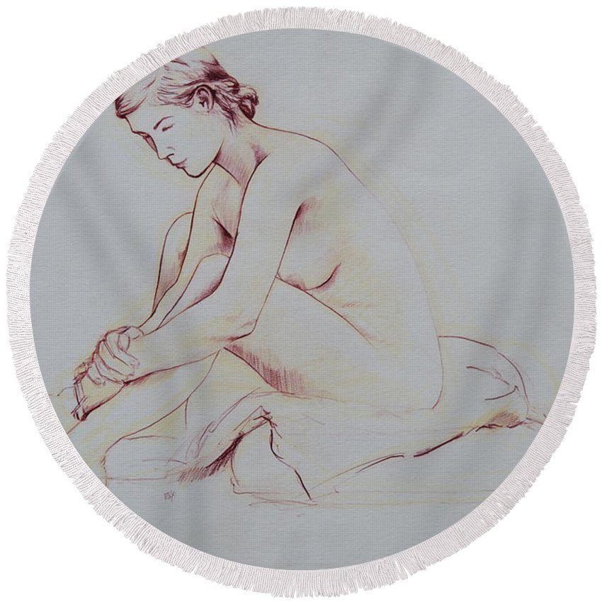 Female Round Beach Towel featuring the drawing Figure Study by Rachel Christine Nowicki
