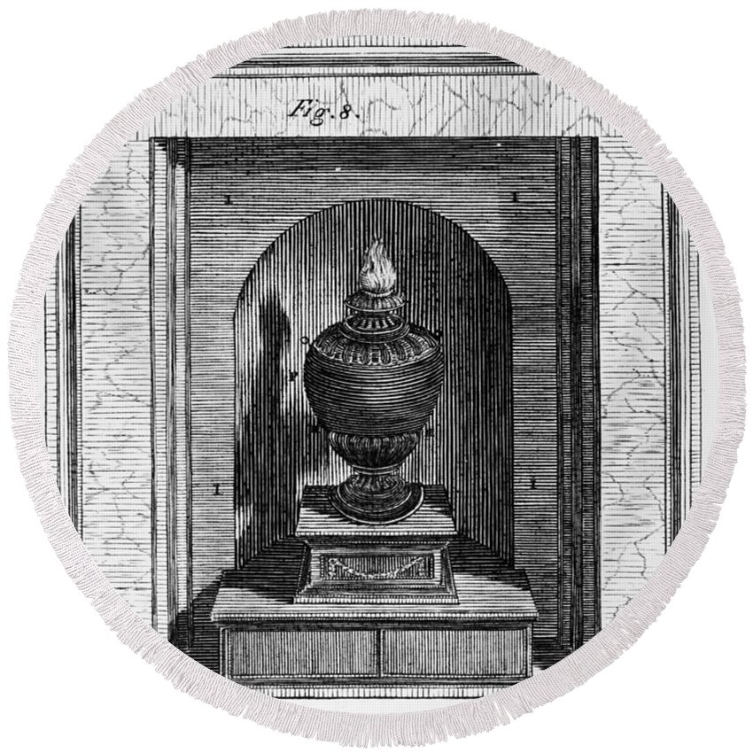 1781 Round Beach Towel featuring the photograph Franklin: Stove by Granger