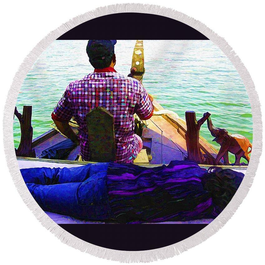 Boat Round Beach Towel featuring the digital art Lady Sleeping While Boatman Steers by Ashish Agarwal