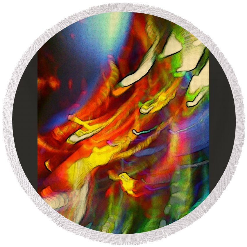 Light Strands Round Beach Towel featuring the digital art Light Strands by D Preble