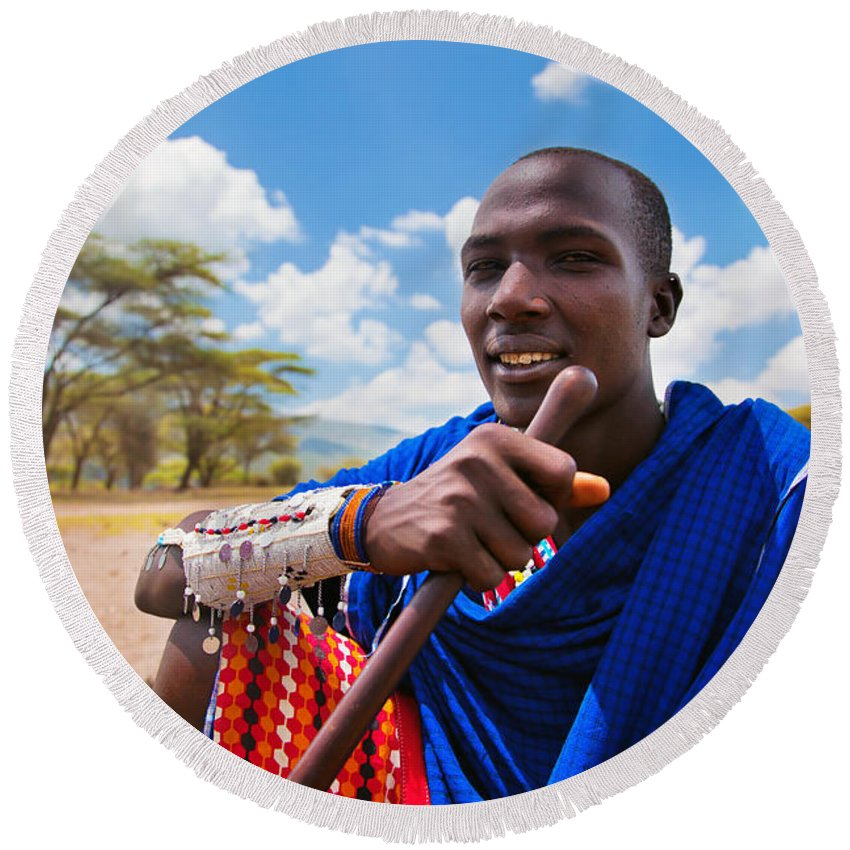 Africa Round Beach Towel featuring the photograph Maasai Man Portrait In Tanzania by Michal Bednarek