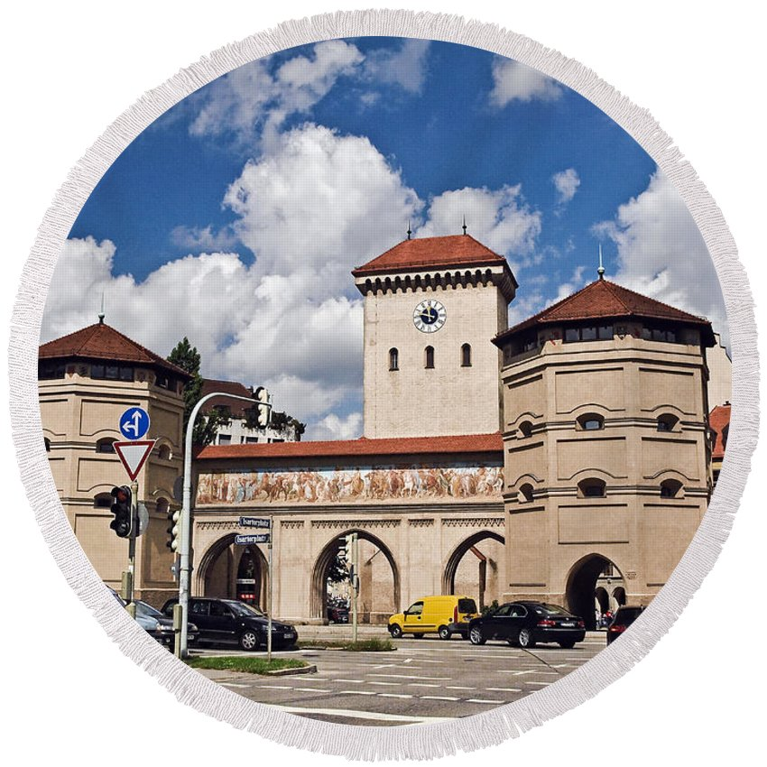 Architecture Round Beach Towel featuring the photograph Munich Germany by Howard Stapleton