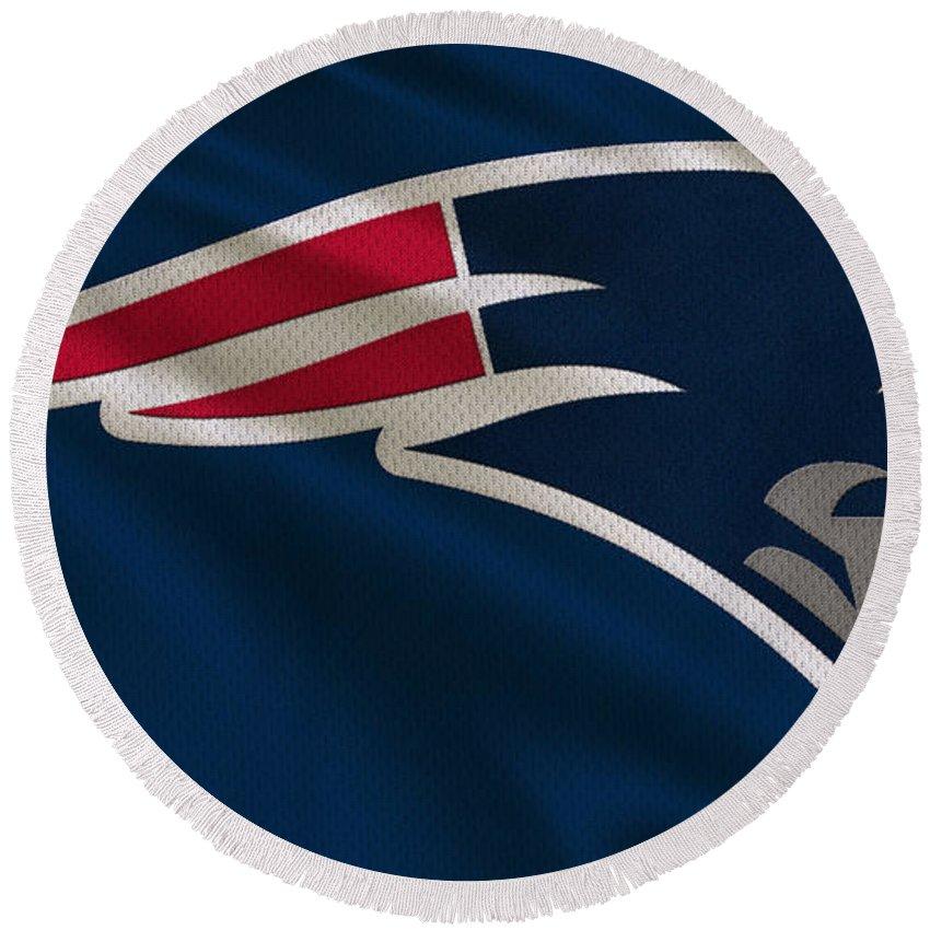 Patriots Round Beach Towel featuring the photograph New England Patriots Uniform by Joe Hamilton
