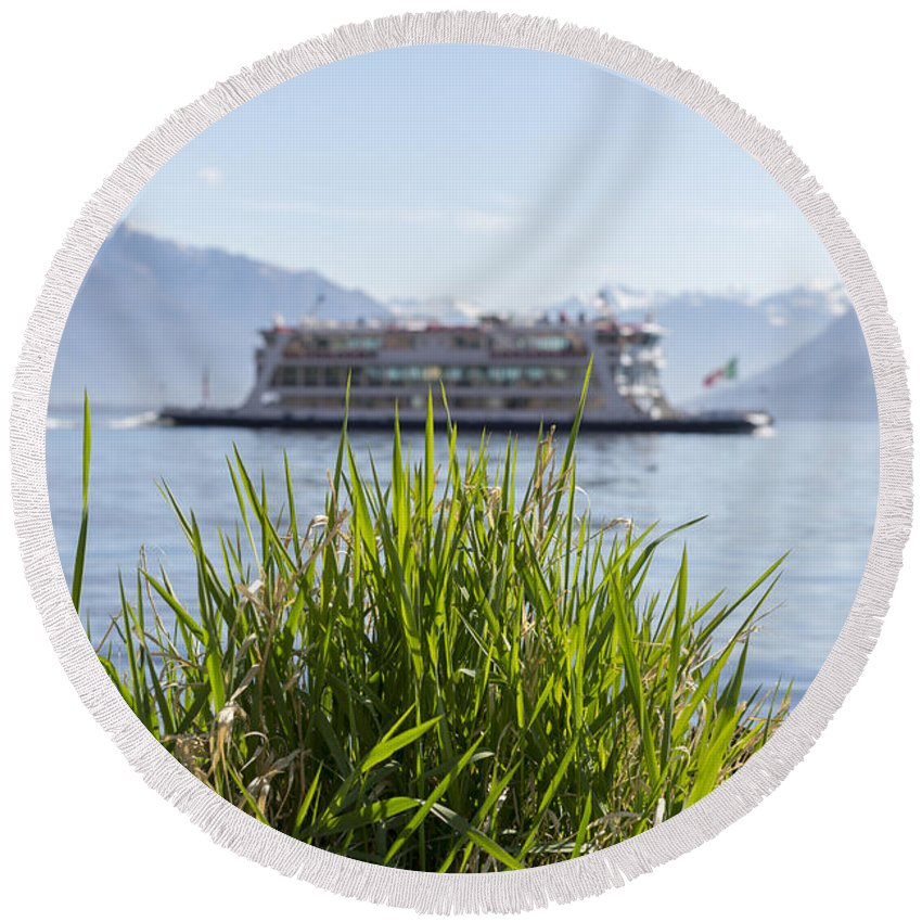Passenger Ship Round Beach Towel featuring the photograph Passenger Ship On An Alpine Lake by Mats Silvan