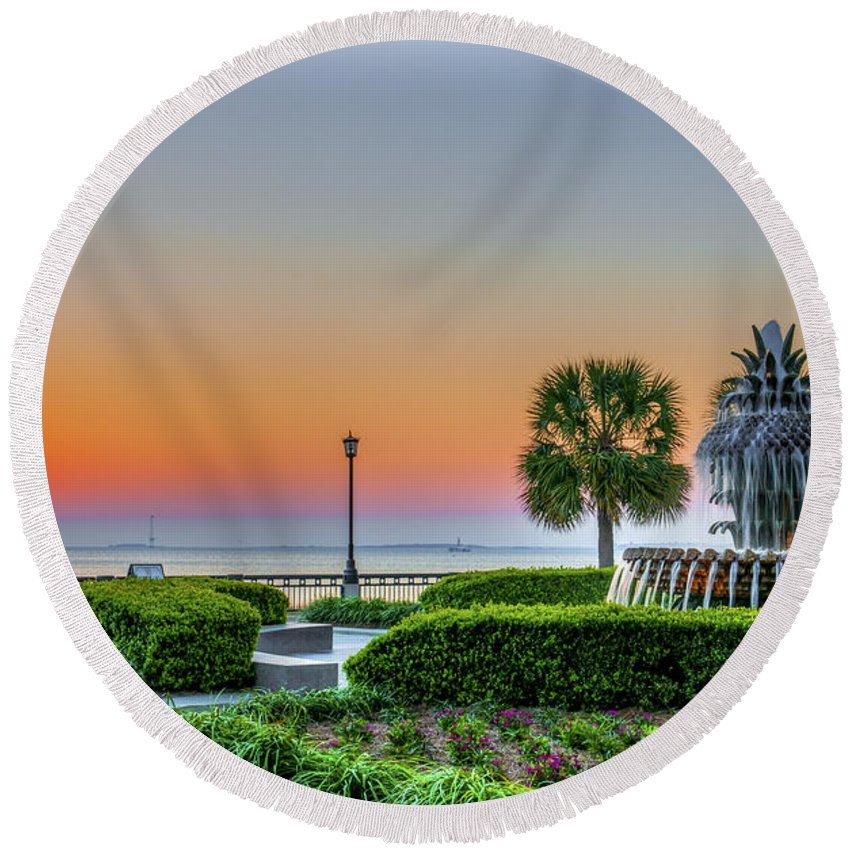 Pineapple Fountain Round Beach Towel featuring the photograph Morning Pineapple by Dale Powell