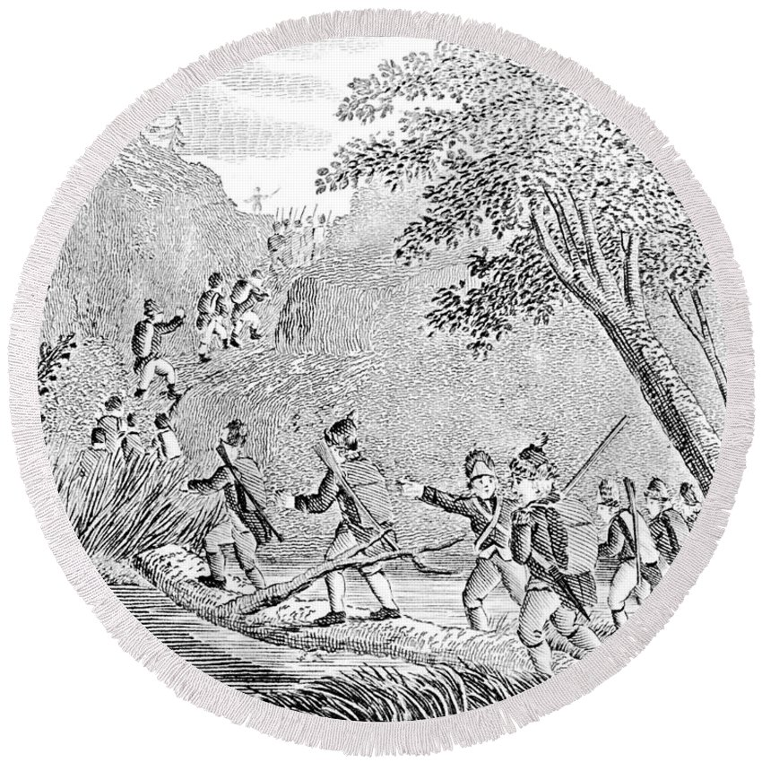 1775 Round Beach Towel featuring the photograph Quebec Expedition, 1775 by Granger