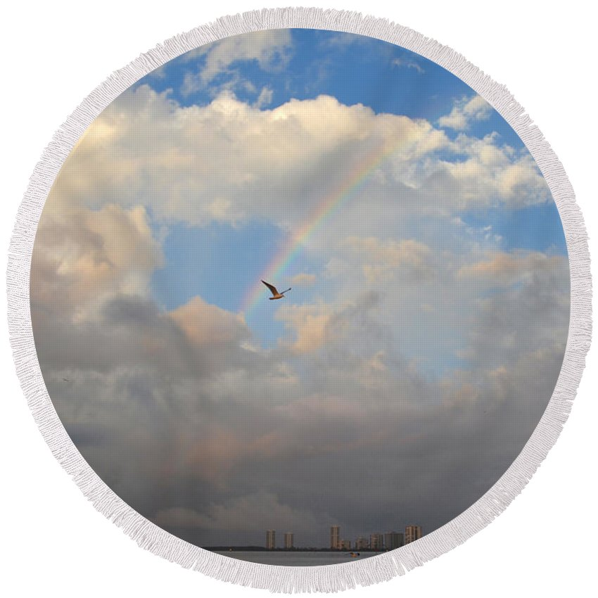 Rainbow Round Beach Towel featuring the photograph 6- Rainbow And Seagull by Joseph Keane