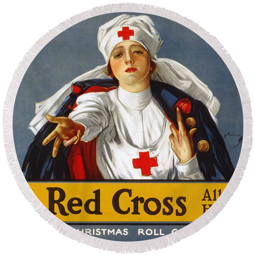 1917 Round Beach Towel featuring the photograph Red Cross Poster, 1917 by Granger